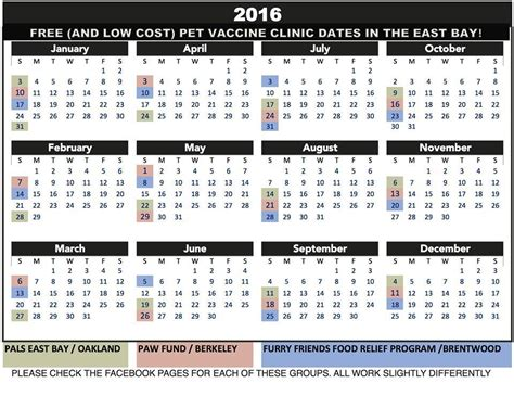 Low Cost Calendar Low Cost Veterinary Services