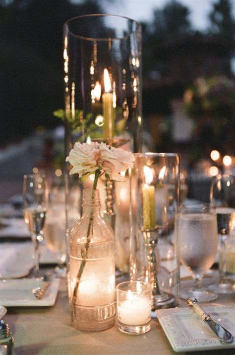Glass Vases For Wedding Table Decorations by Wedding Candlescape Idea Using Clear Glass Bottles And