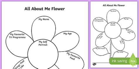 all about my template all about me flower writing template