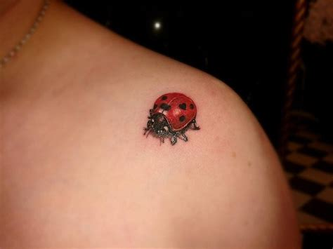 rose and ladybug tattoo lovely realistic ladybug on shoulder tattoos