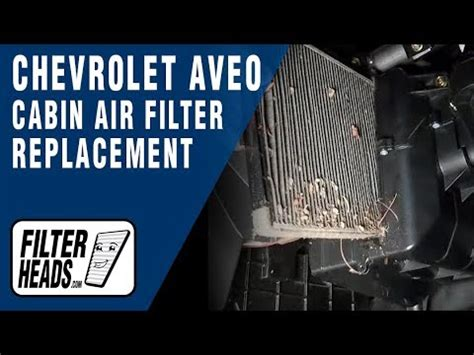 cabin air filter replacement chevrolet aveo youtube