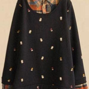 Plaid Mock Two Dress mock two mixed color plaid shirt sweatshirt jumper