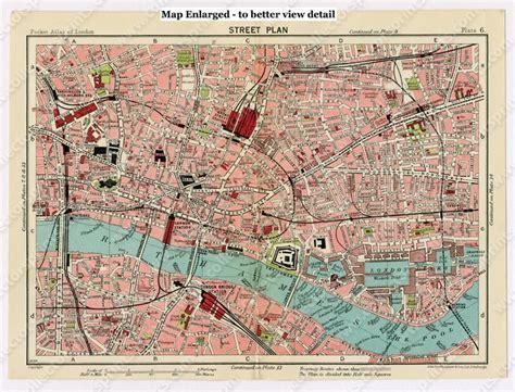 Deco Vanity Antique Map The City And Whitechapel London 1920 S