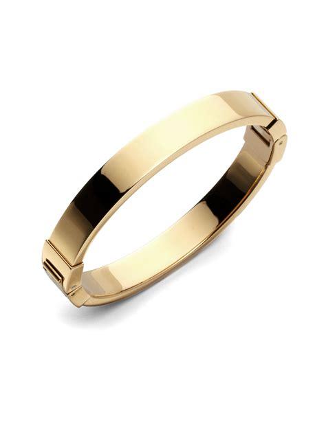 michael kors goldtone hinged bangle bracelet in gold lyst