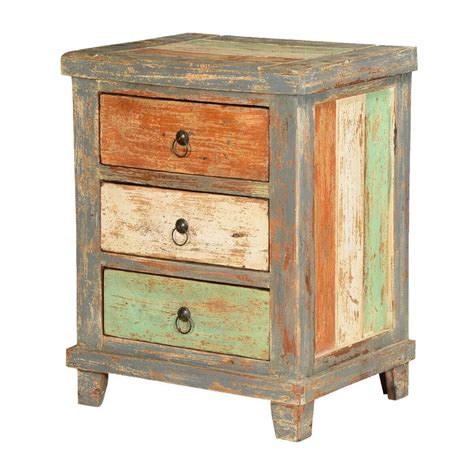 Rustic Wood Nightstand by Orange White Green Stripes Mango Wood Rustic Nightstand