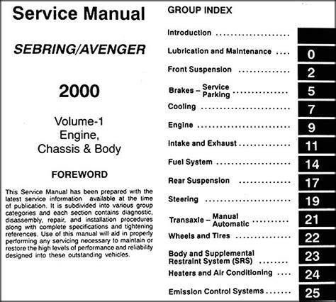 auto repair manual online 2000 dodge avenger electronic valve timing 2000 chrysler sebring coupe dodge avenger repair shop manual original 2 volume set