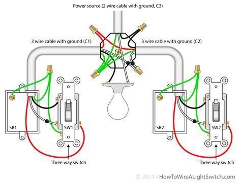 single light between 3 way switches power via light