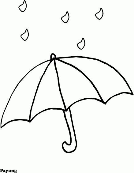 Gambar Mewarnai Payung & Hujan - Contoh Anak PAUD