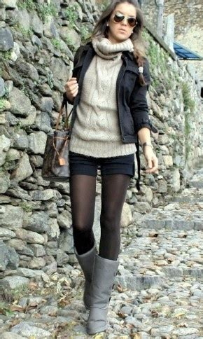 273 cute look with shorts and tights fashion designing