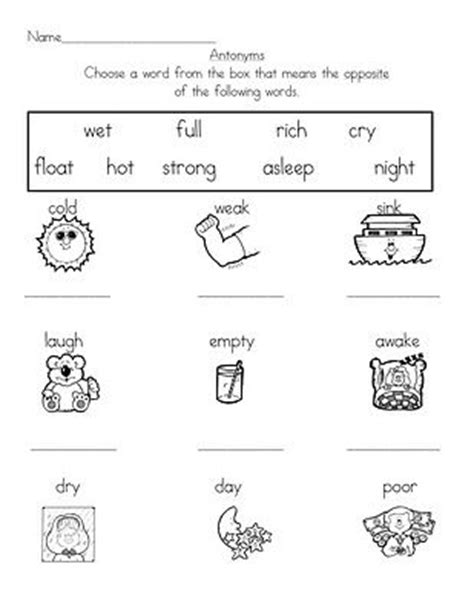 work pattern synonym 12 best images of first grade opposites worksheets