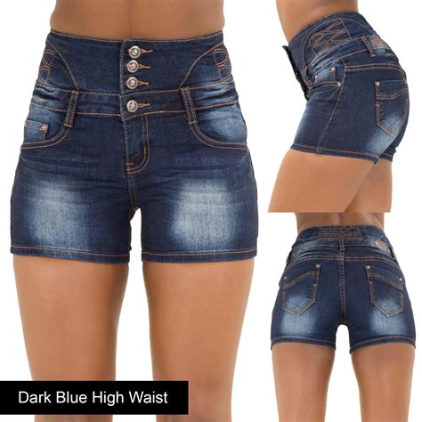 High Waist Stretch ripped denim shorts high waist hotpants
