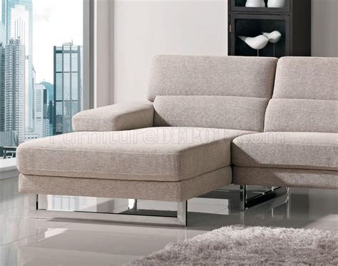 with leg l beige fabric l shape modern sectional sofa w metal legs