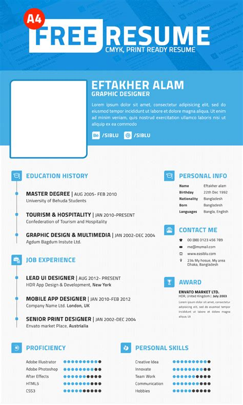 Simple Professional Resume Template by Simple Professional Resume Template Psd File