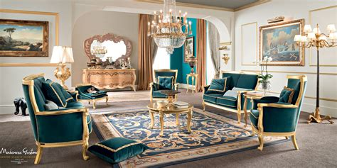 living room in italian living room with velvet upholstery and furniture covered by gold leaf applications living room