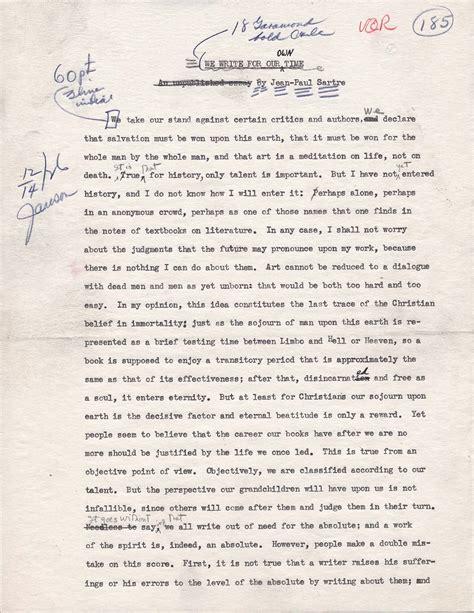 Sartre Essay by Translation Of Jean Paul Sartre Essay 1947 Vqr