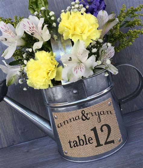 watering can centerpieces rustic wedding centerpiece vase watering can by therusticowlshop