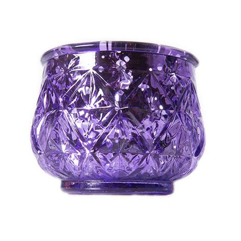 Anasa Decorative Glass Tealight Candle Holder Purple Mix 2 1 2 Glam Etched Mercury Glass Candle Votive Holder Purple 6 Pack