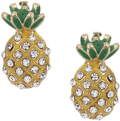 Asos Pineapple Stud Earrings topshop pineapple stud earrings in yellow lyst