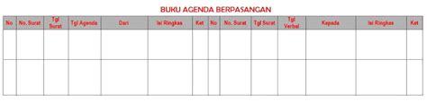 format buku agenda contoh format buku agenda tunggal berpasangan dan kembar