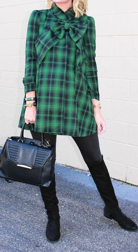 Tartan Bow Top plaid top with a bow http rstyle me n ud7k6pdpe green big bows winter