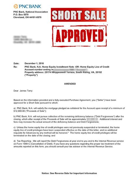 sle of formal approval letter whippoorwill pnc short sale approval letter virginia