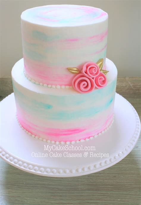watercolor buttercream  cake video  cake school