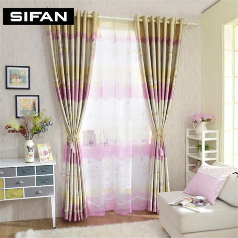 blackout curtains for kids rooms cartoon pink rabbit printed blackout curtains for children