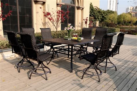 patio furniture wicker aluminum dining set 9pc