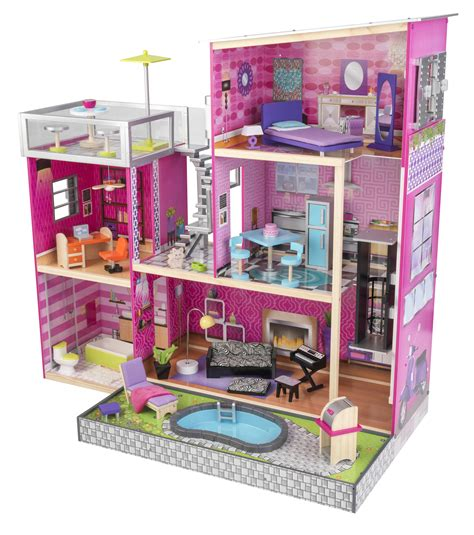 kidkraft doll house furniture kidkraft 174 uptown wooden dollhouse 35 pieces of furniture girl doll house new ebay
