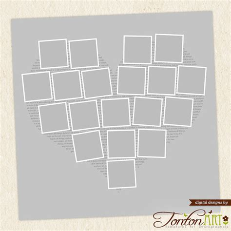photo collage layout photoshop heart shape photo collage template 24x24 11x11 photoshop