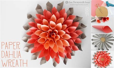 How To Make A Beautiful Paper - how to make paper beautiful craft dahlia wreath step by