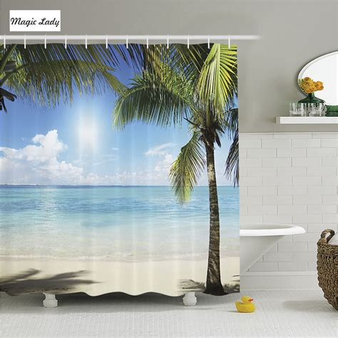 summer bathroom decor shower curtain summer bathroom accessories tropical coconut palms shadows beach decor