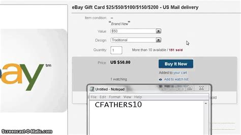 Gift Card Codes For Ebay - save 10 50 ebay gift card for 40 youtube