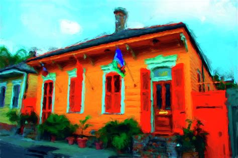 new orleans orange cottage painting by rosenbohm