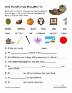 words that begin with quot o quot worksheet education