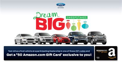 Ford Test Drive Gift Card - receive a 50 amazon giftcard for test driving a ford doctor of credit