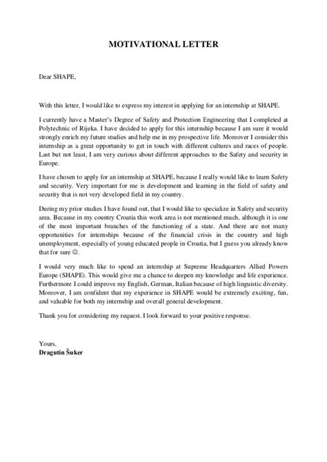 Motivation Letter Exle For Internship Exle Of A Motivational Letter Dragutin 蝣uker