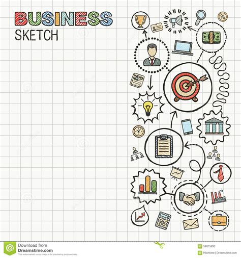 doodle mission business draw icons on paper stock vector image