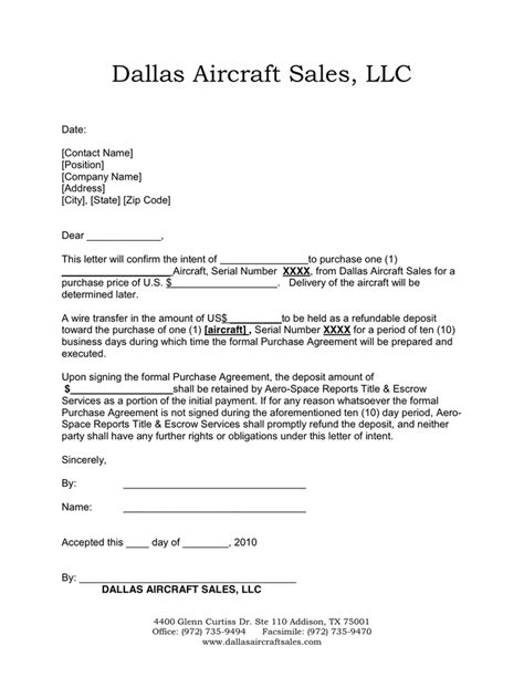 Letter Of Intent Lease Aircraft Sle Letter Of Intent In Word And Pdf Formats