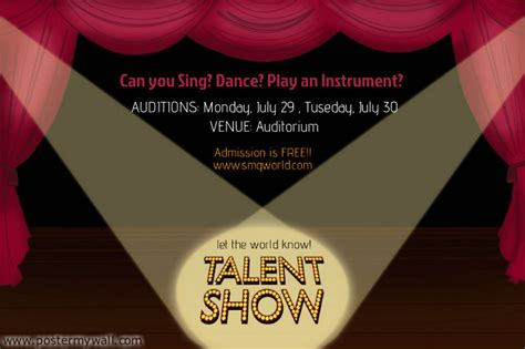 talent show program template talent show flyer template