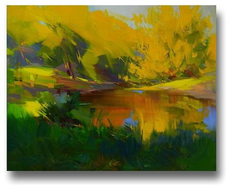 modern landscape painting in yellow and green by