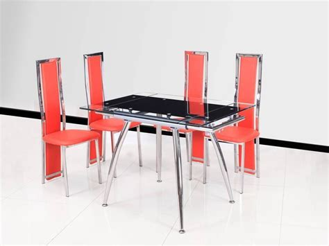 Black Extending Glass Dining Table And 4 Red Chairs Black Extending Dining Table And Chairs