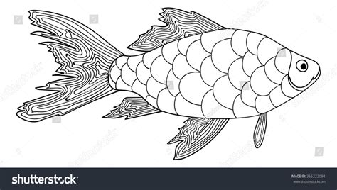 anti stress coloring book animals detailed ornamental sketch fish stock vector