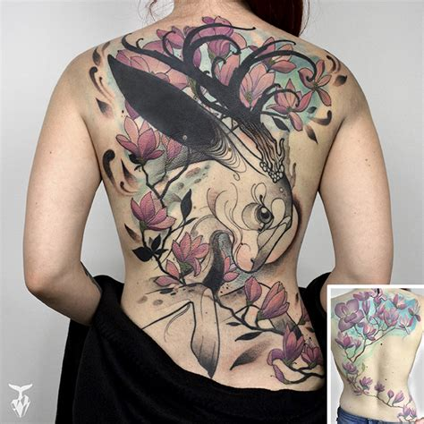 art nouveau tattoo i create nature and nouveau inspired tattoos bored panda