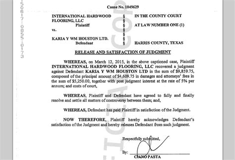 Release Of Judgement Letter Houston Courts Cases