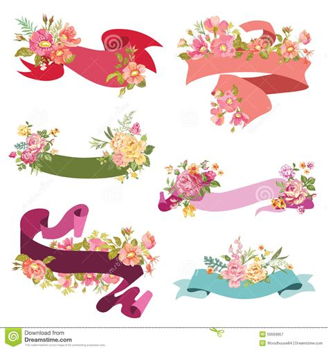 Wedding Banner Vector by Floral Ribbon Banners Stock Vector Illustration Of