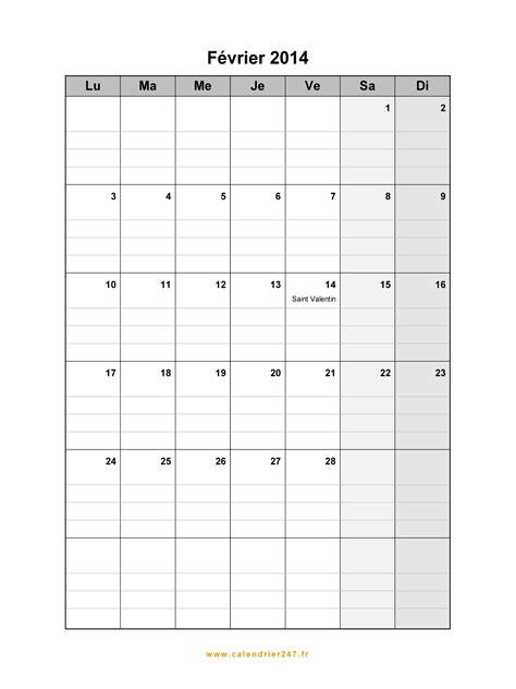 Calendrier Fevrier 2014 Calendrier F 233 Vrier 2014 224 Imprimer Gratuit En Pdf Et Excel