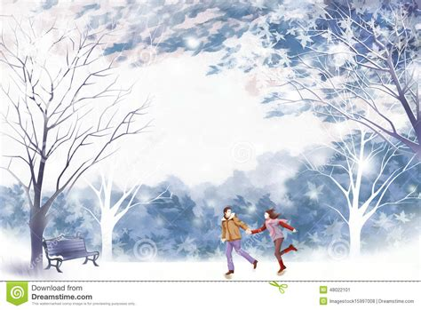 themes for the story winter dreams couple enjoying a walk on the weekend graphic painting