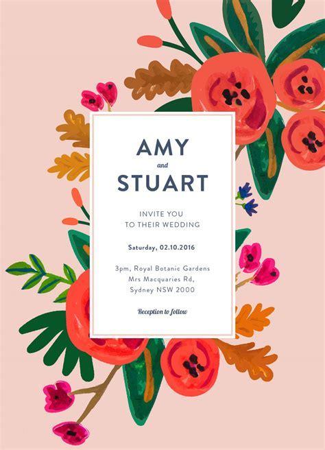 Red Flowers   Digital Printing   Wedding Invitations