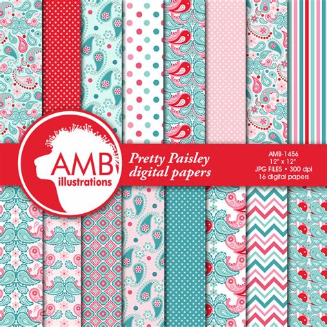 pattern paper uses paisley digital papers shabby chic pink and teal floral